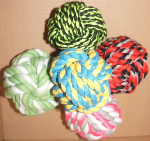"VALUE PACK 4"" DOG ROPE BALLS X 5 TOUGH ROPE TOYS FOR DOGS"